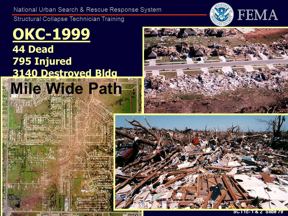 Mile Wide Path OKC-1999 44 Dead 795 Injured 3140 Destroyed Bldg