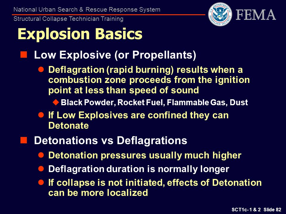 Explosion Basics Low Explosive (or Propellants)