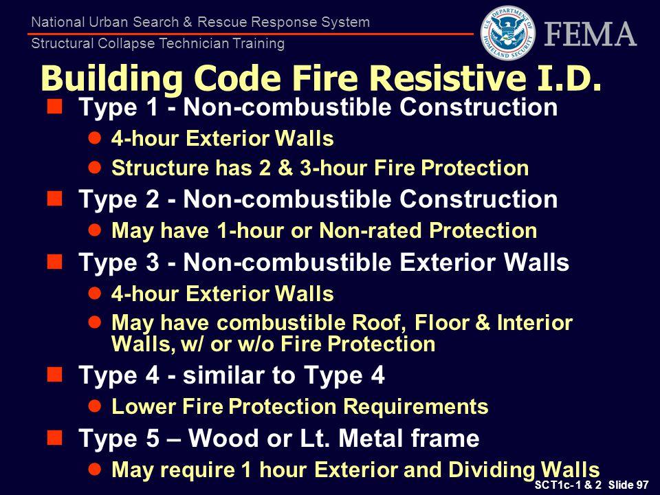 Building Code Fire Resistive I.D.