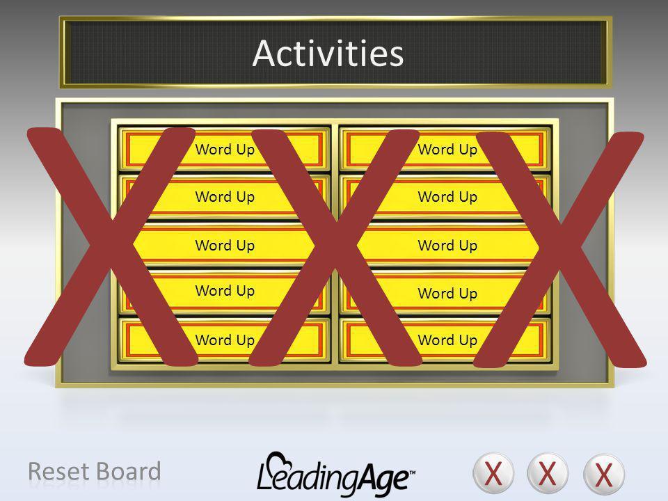 X X X X X X Activities X X X Reset Board Cultural Programs