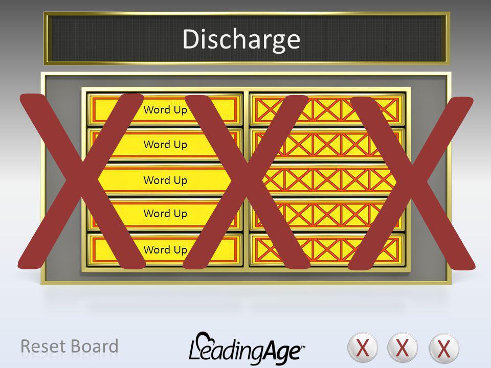 X X X X X X Discharge X X X Reset Board Move-Out Change of Residence