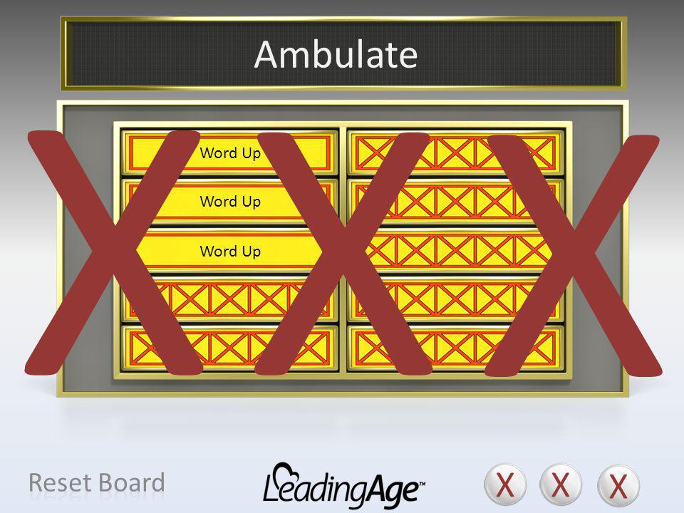 X X X X X X Ambulate X X X Reset Board Walk Move About Amble Word Up