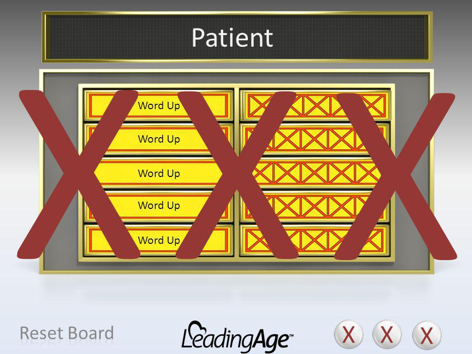 X X X X X X Patient X X X Reset Board Resident Consumer Individual