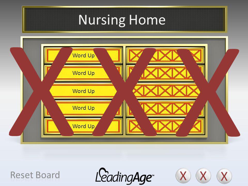 X X X X X X Nursing Home X X X Reset Board Health Care Center