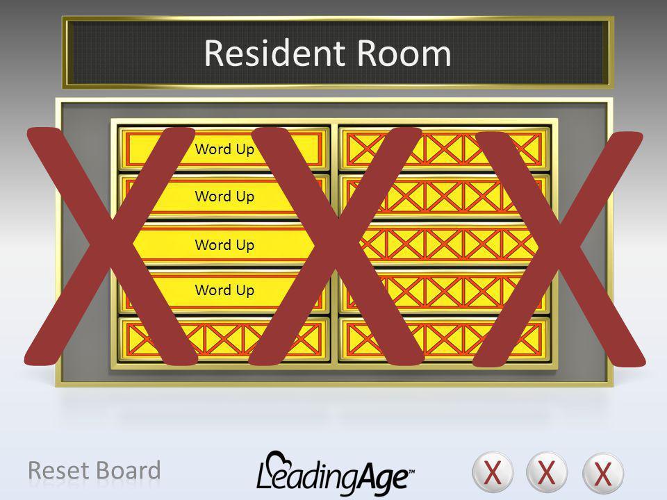 X X X X X X Resident Room X X X Reset Board Suite Apartment Home