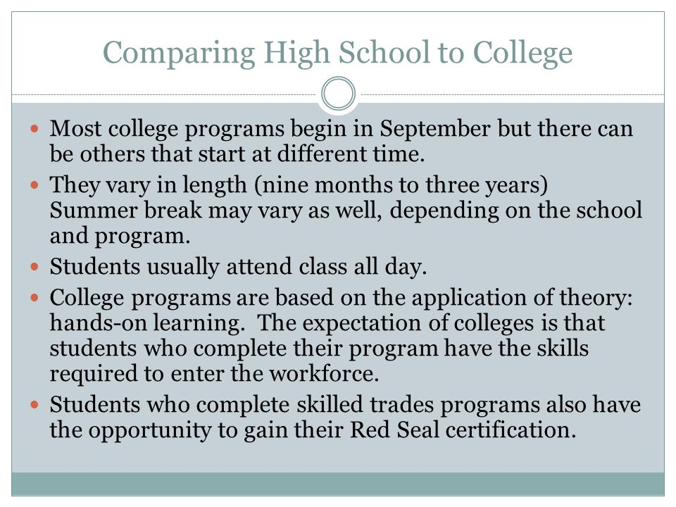 Comparing High School to College