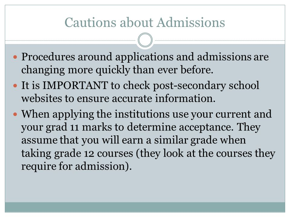 Cautions about Admissions