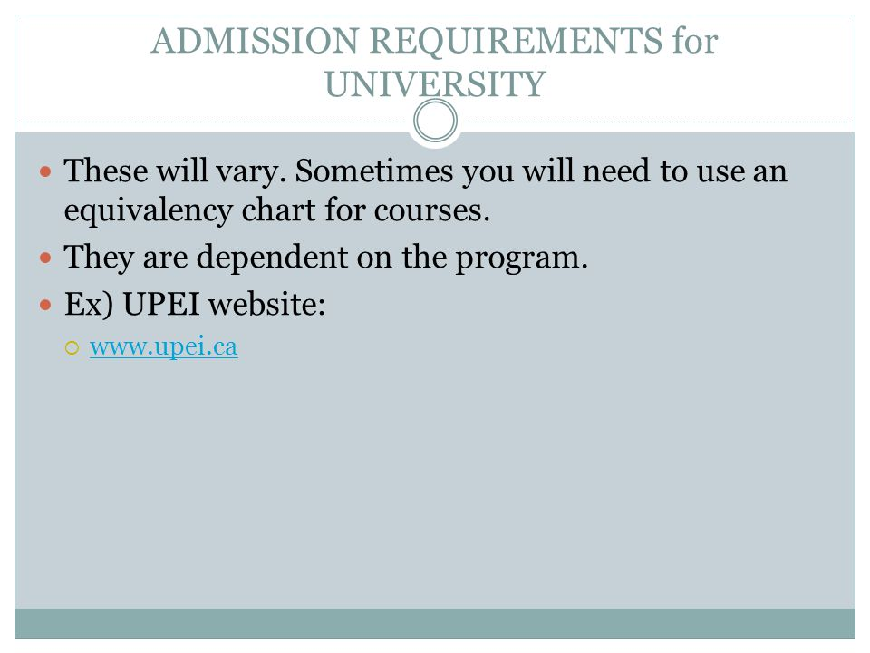 ADMISSION REQUIREMENTS for UNIVERSITY