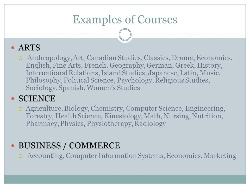 Examples of Courses ARTS SCIENCE BUSINESS / COMMERCE