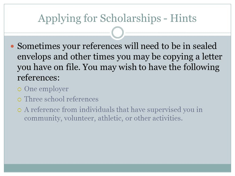 Applying for Scholarships - Hints