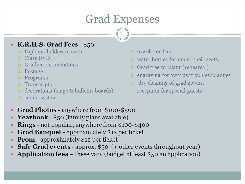 Grad Expenses K.R.H.S. Grad Fees - $50
