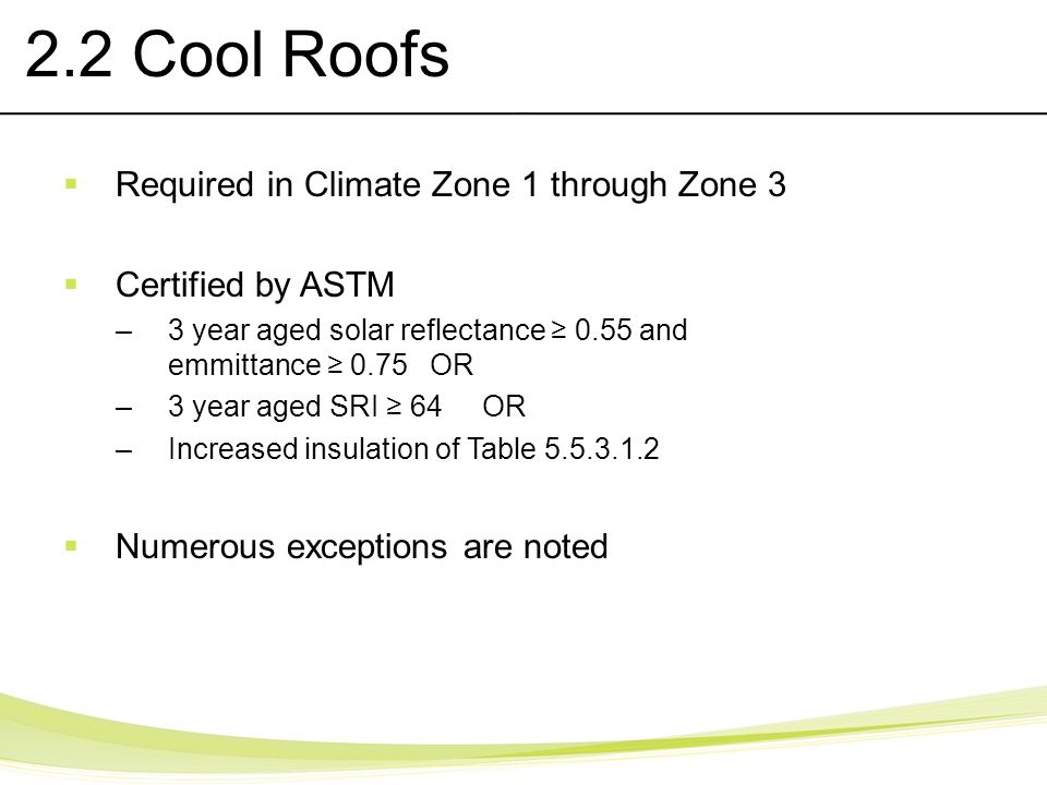 2.2 Cool Roofs Required in Climate Zone 1 through Zone 3