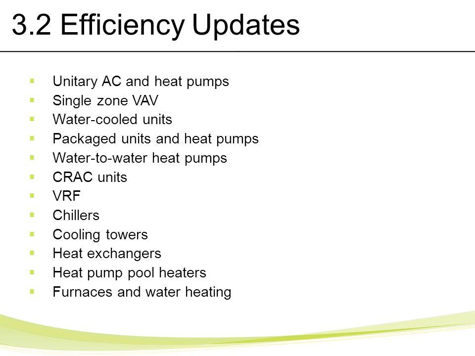 3.2 Efficiency Updates Unitary AC and heat pumps Single zone VAV