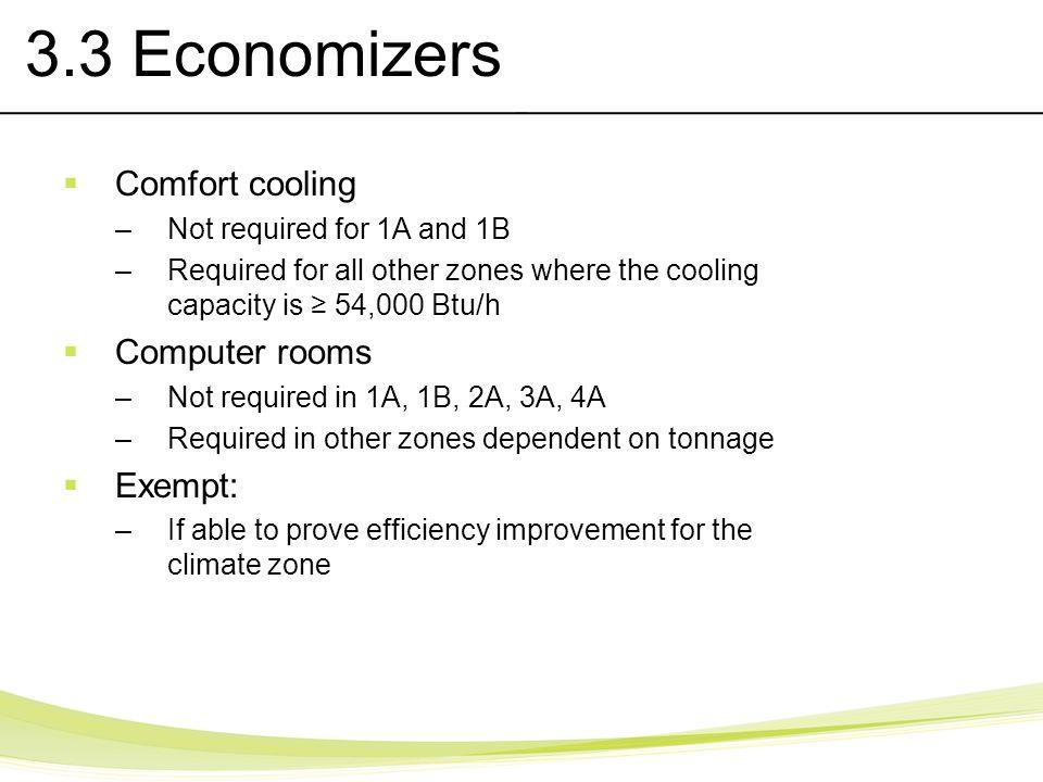 3.3 Economizers Comfort cooling Computer rooms Exempt: