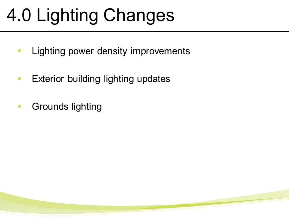 4.0 Lighting Changes Lighting power density improvements