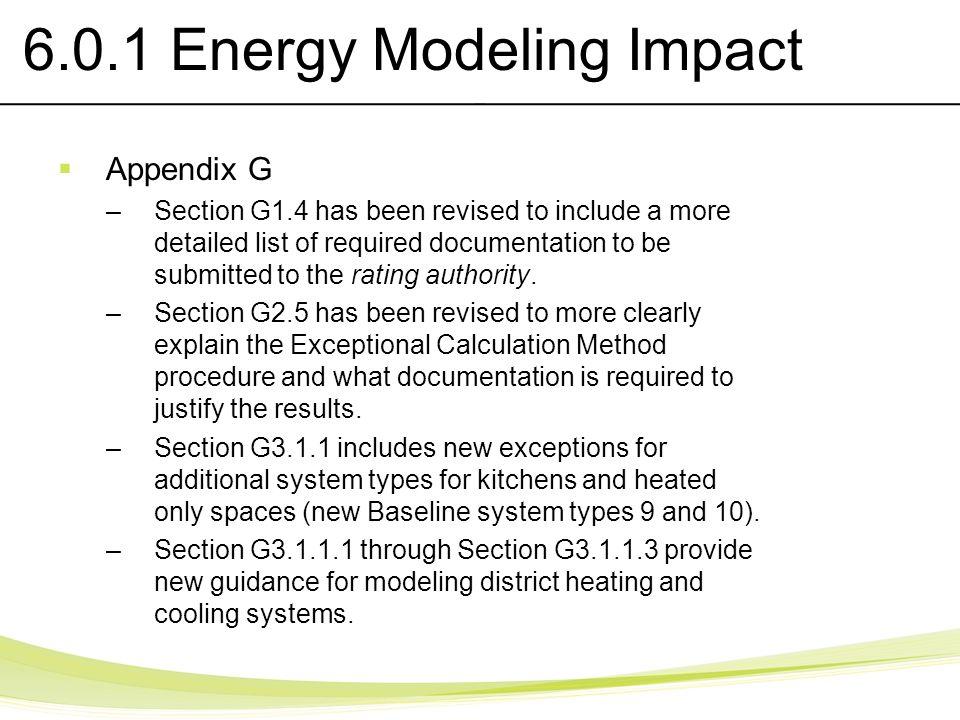 6.0.1 Energy Modeling Impact