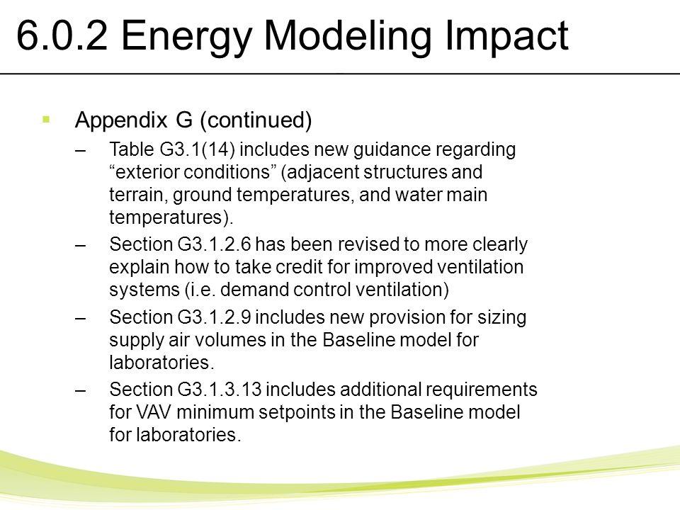 6.0.2 Energy Modeling Impact