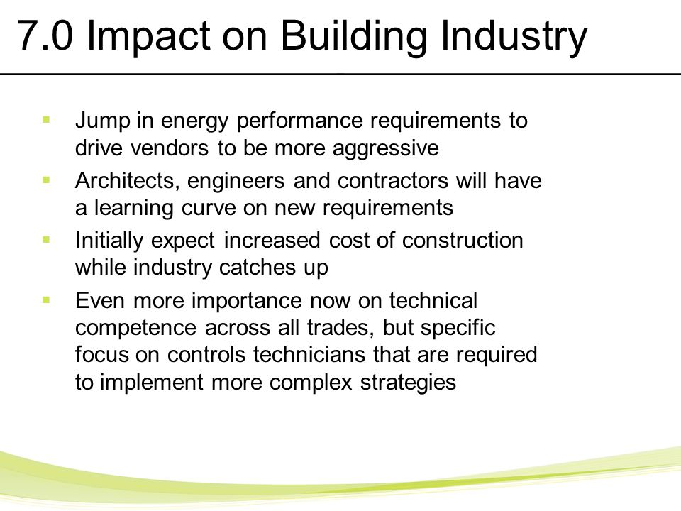 7.0 Impact on Building Industry