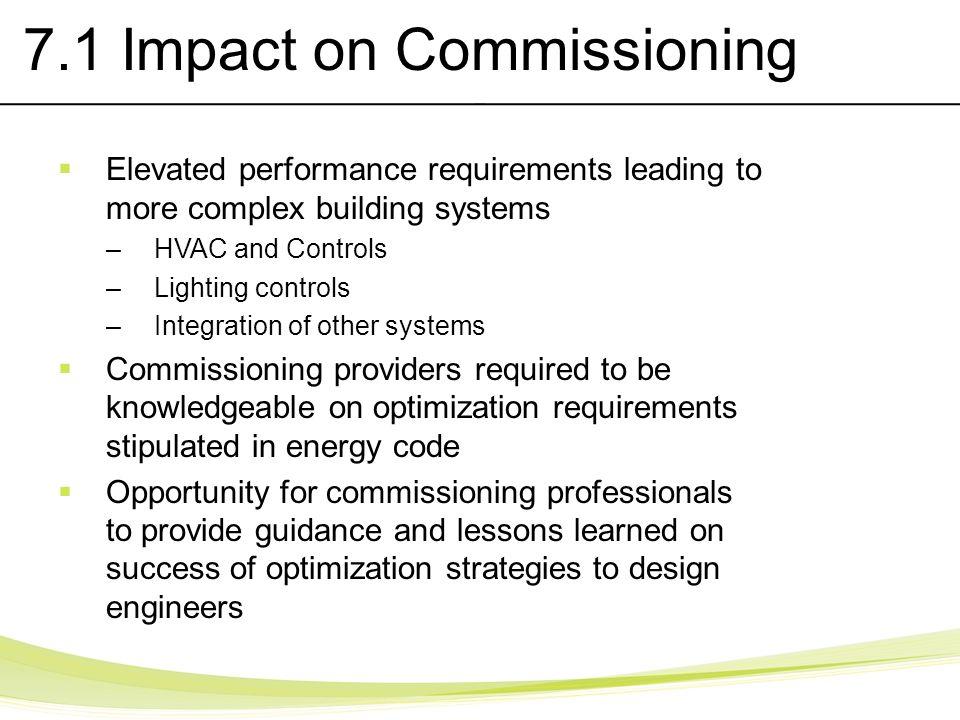 7.1 Impact on Commissioning