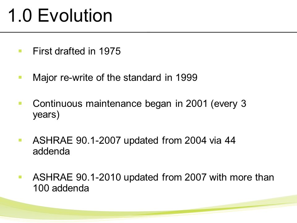 1.0 Evolution First drafted in 1975