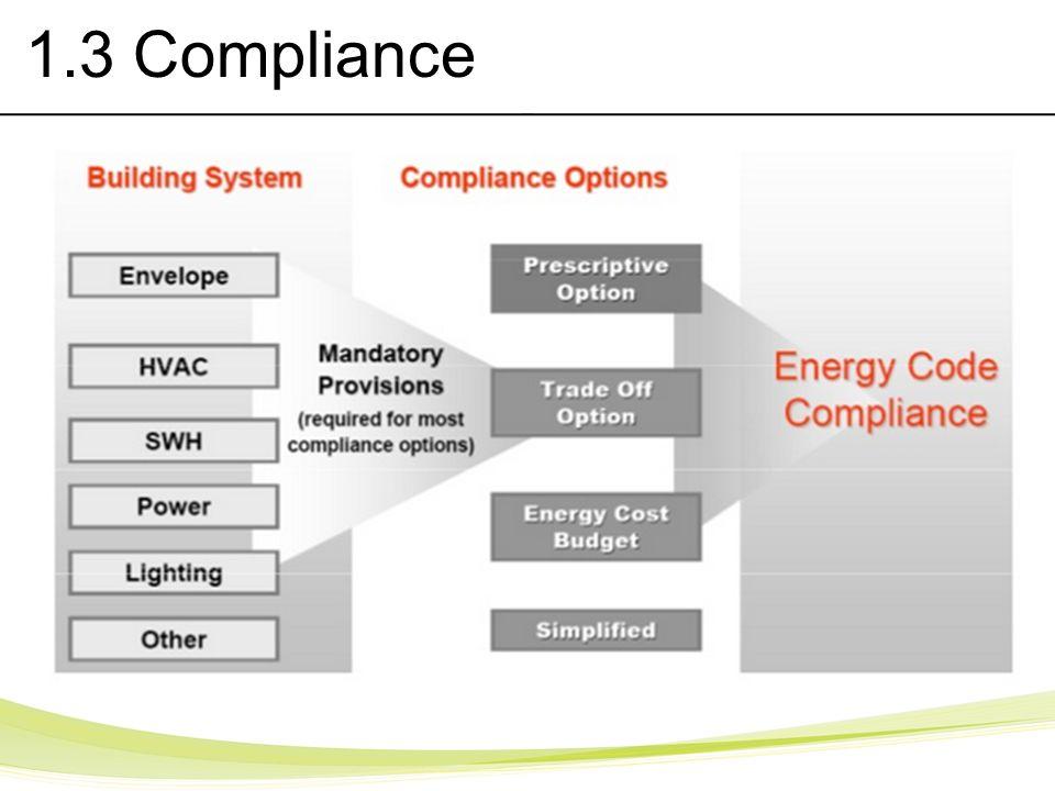 1.3 Compliance 5.X Envelope 6.X Mechanical 7.X Service Water Heating