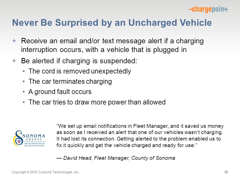 Never Be Surprised by an Uncharged Vehicle