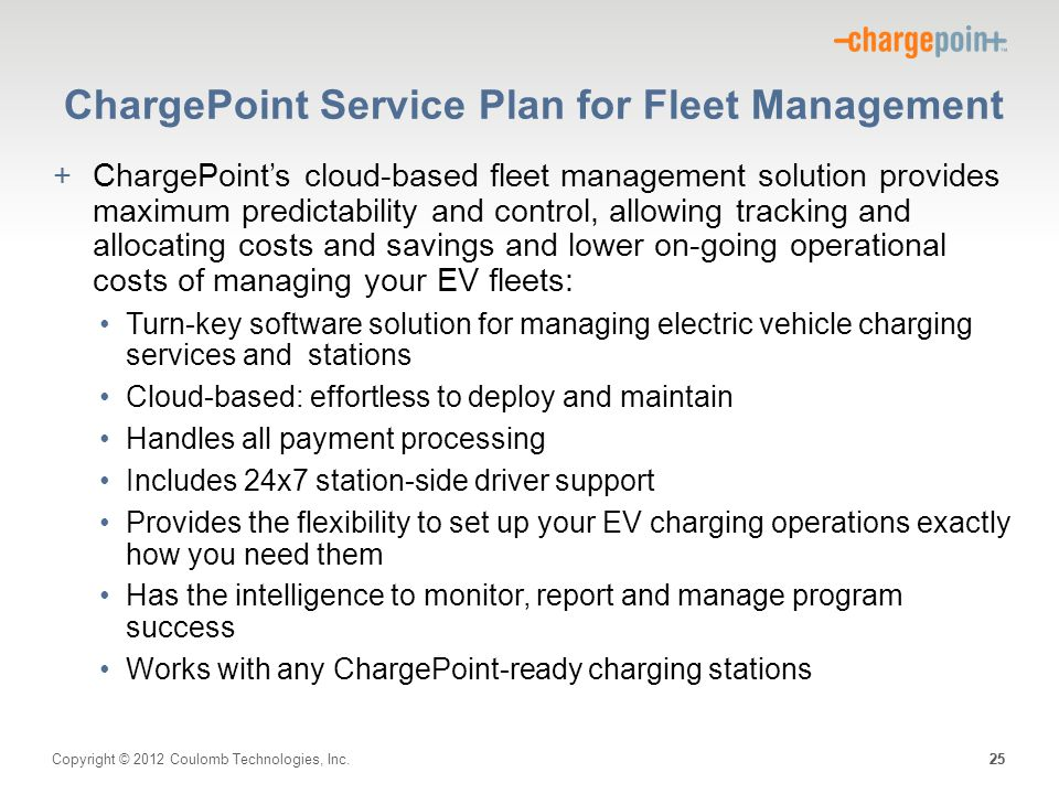 ChargePoint Service Plan for Fleet Management