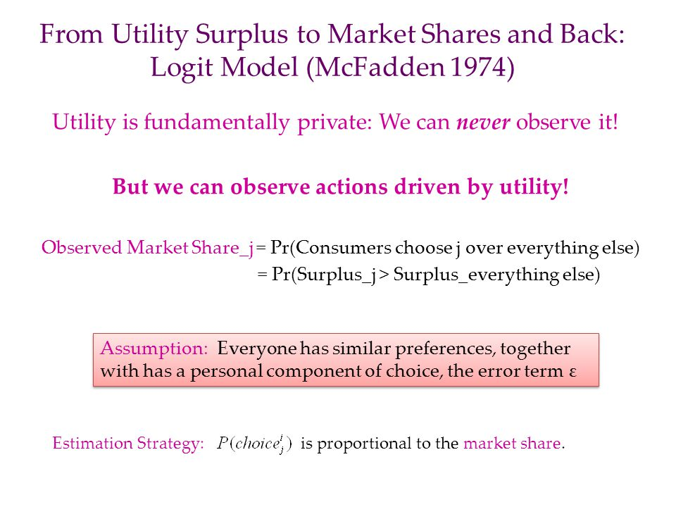 But we can observe actions driven by utility!