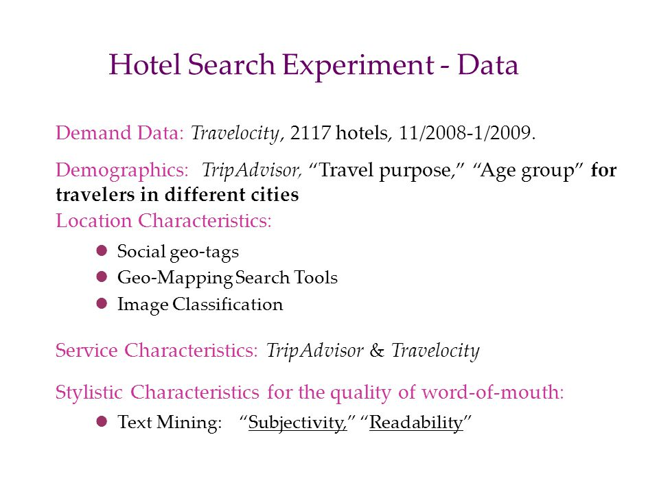 Hotel Search Experiment - Data