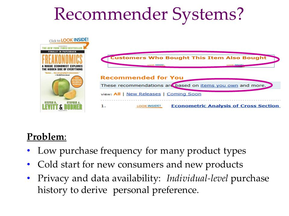 Recommender Systems Problem: