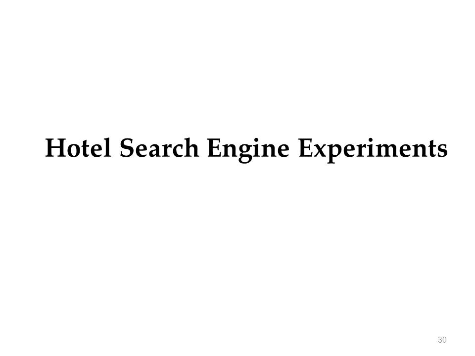 Hotel Search Engine Experiments