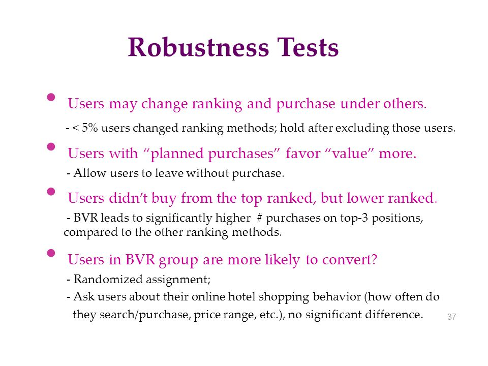 Robustness Tests Users may change ranking and purchase under others.