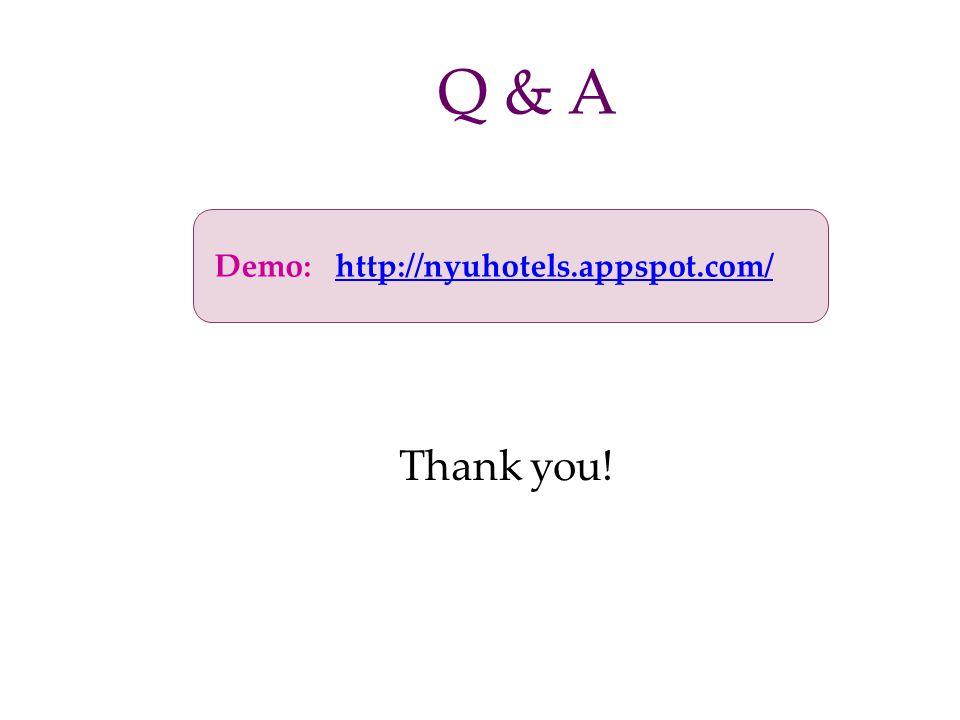 Q & A Demo: http://nyuhotels.appspot.com/ Thank you!