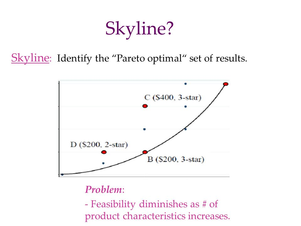 Skyline Skyline: Identify the Pareto optimal set of results.
