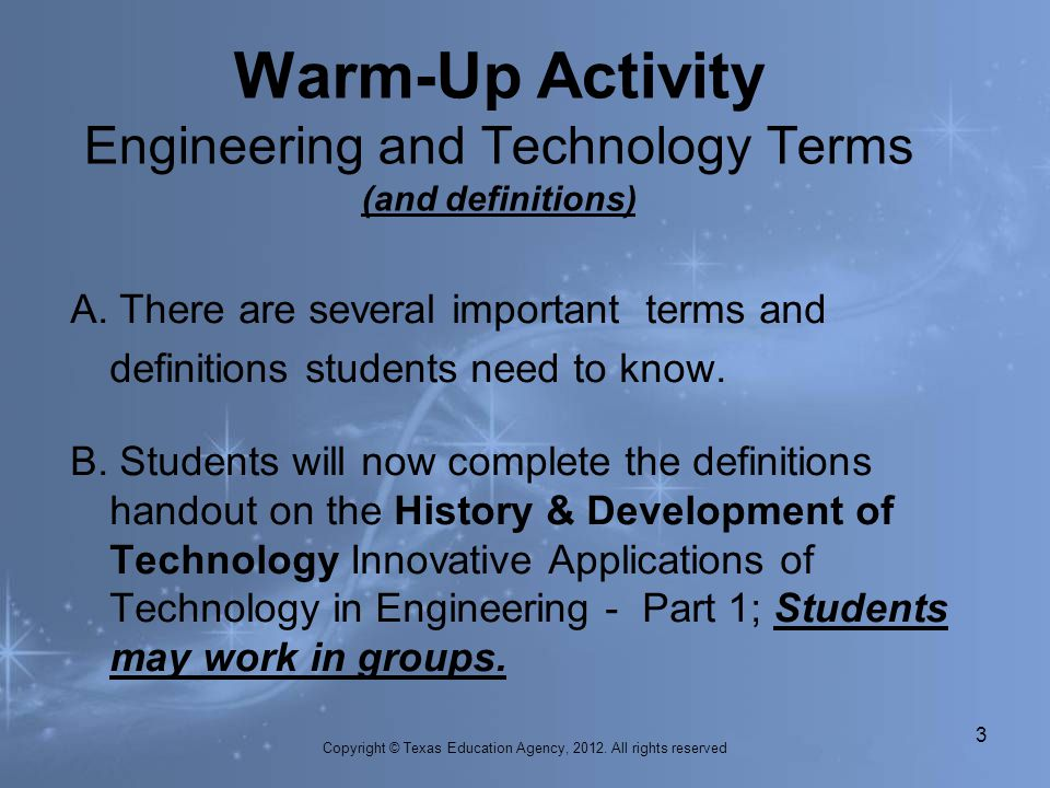 Warm-Up Activity Engineering and Technology Terms (and definitions)