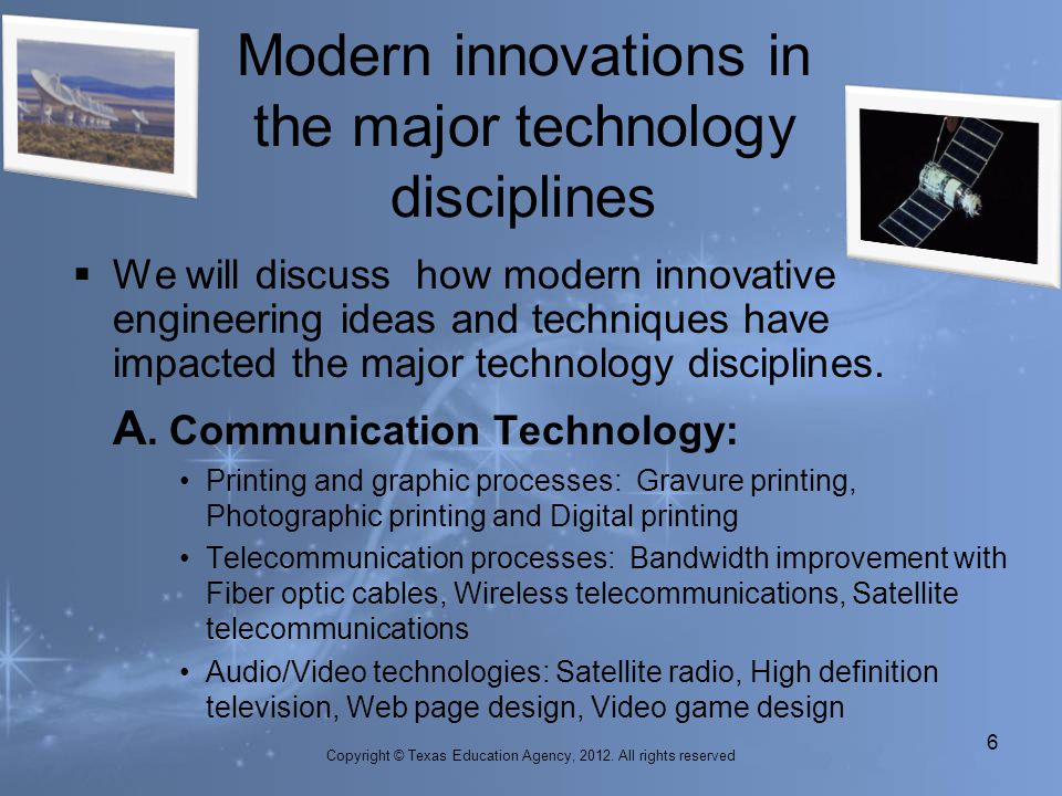 Modern innovations in the major technology disciplines