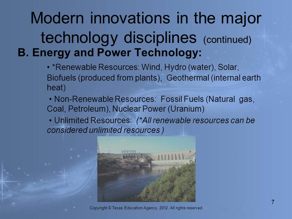 Modern innovations in the major technology disciplines (continued)