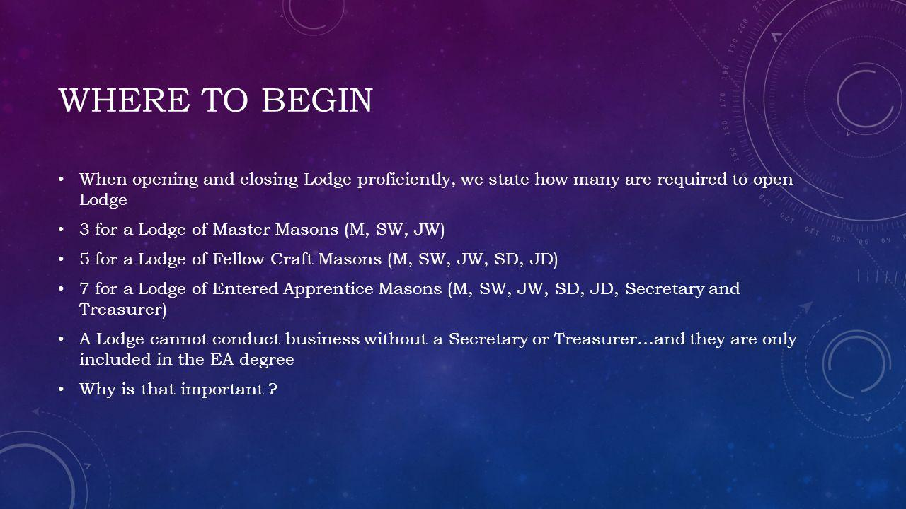 Where to begin When opening and closing Lodge proficiently, we state how many are required to open Lodge.