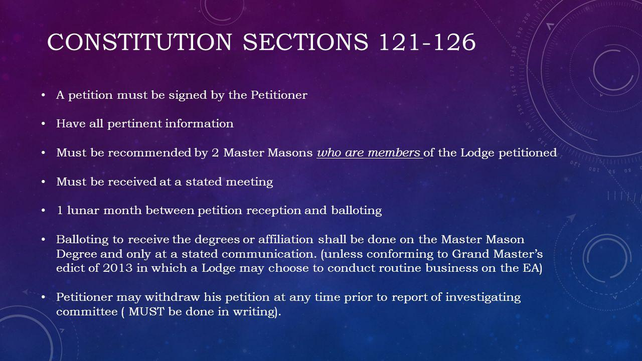 Constitution Sections 121-126