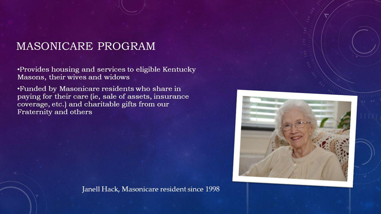 Masonicare Program Provides housing and services to eligible Kentucky Masons, their wives and widows.