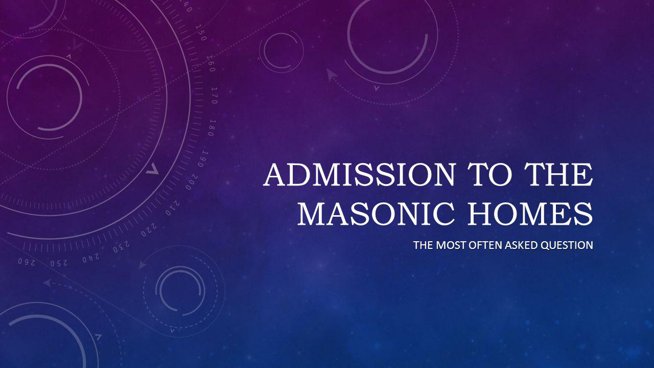 Admission to the Masonic homes