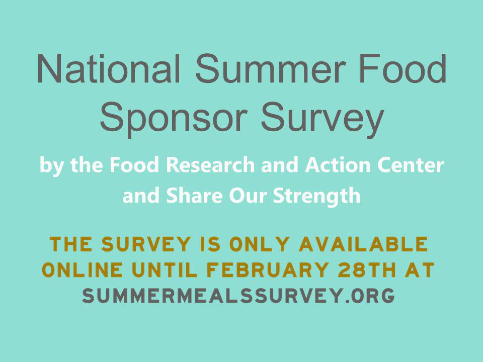 National Summer Food Sponsor Survey