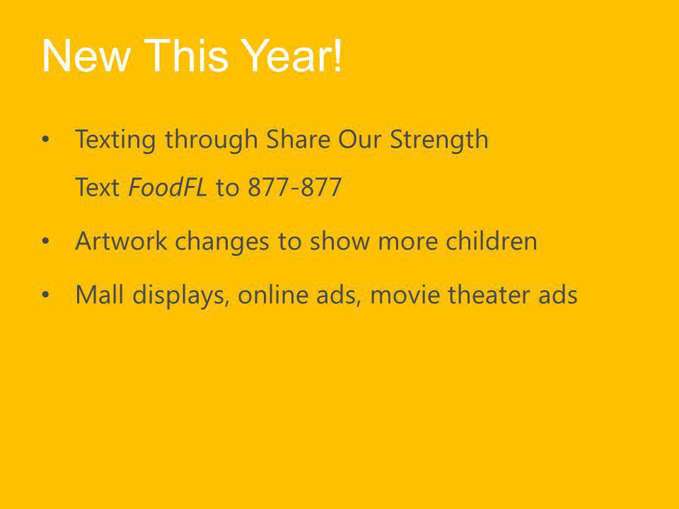 New This Year! Texting through Share Our Strength Text FoodFL to 877-877. Artwork changes to show more children.
