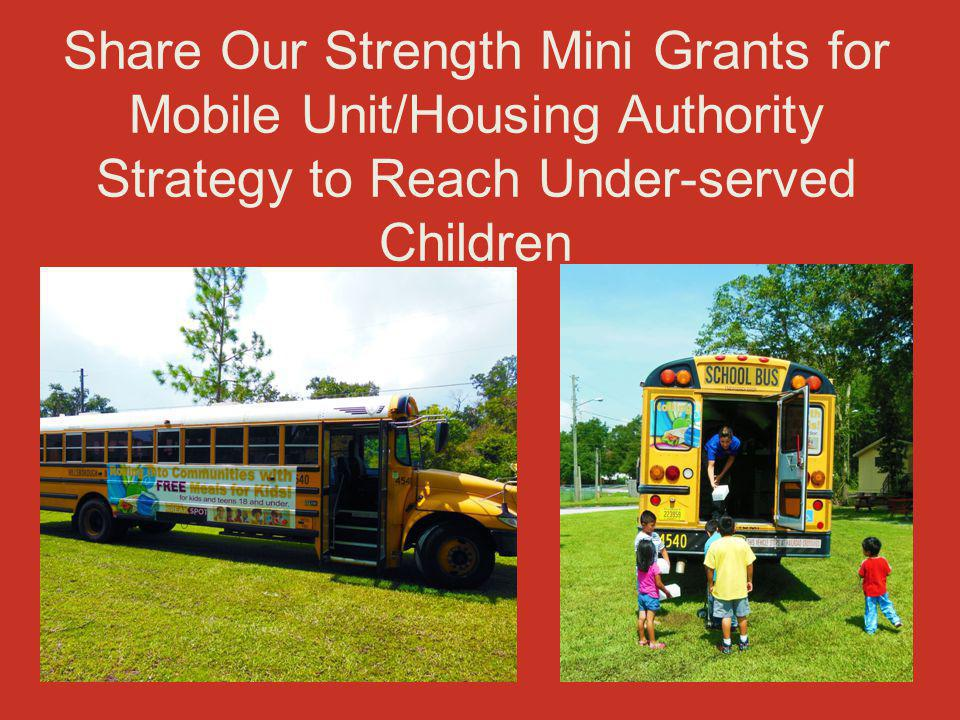 Share Our Strength Mini Grants for Mobile Unit/Housing Authority Strategy to Reach Under-served Children