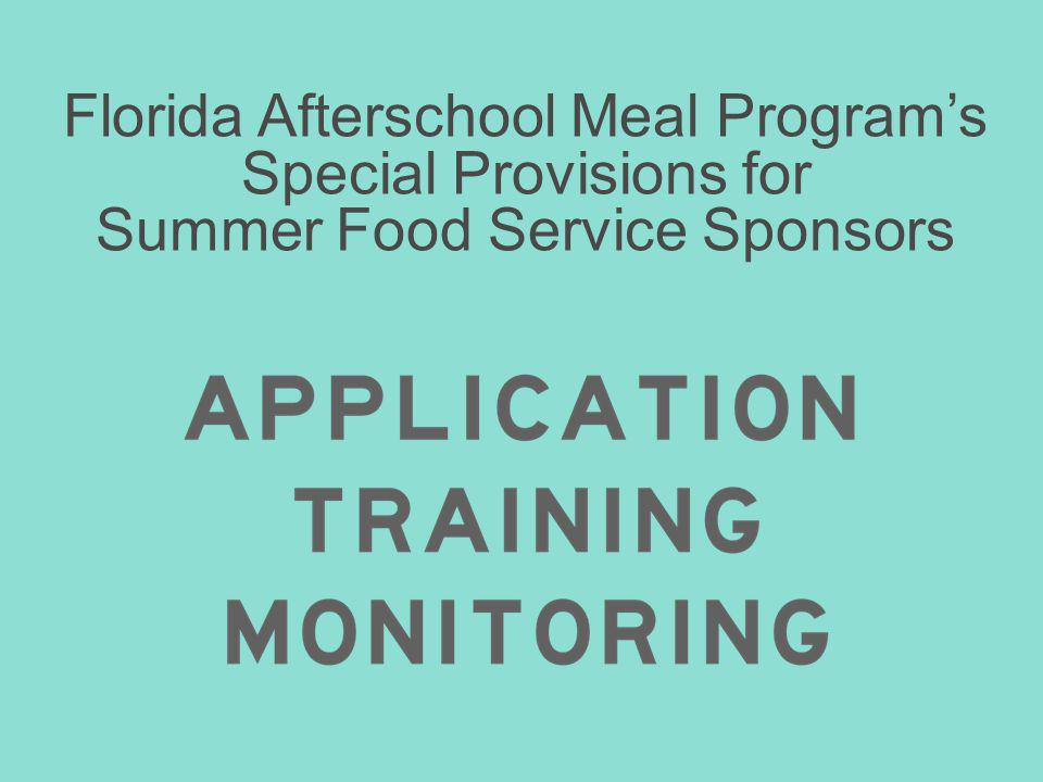 Florida Afterschool Meal Program's Special Provisions for