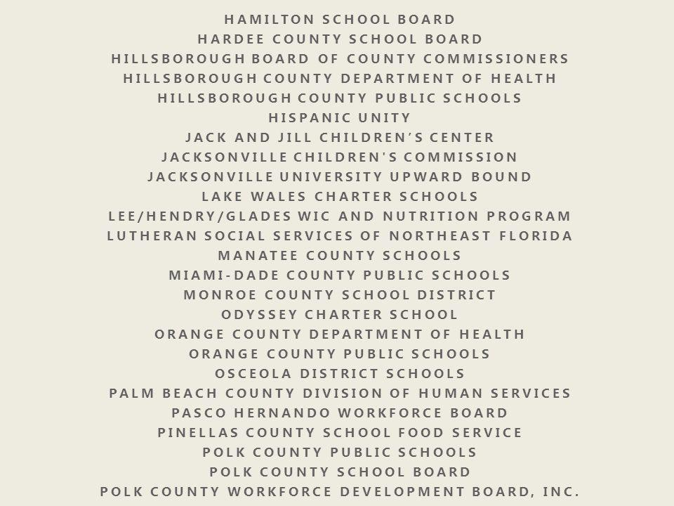 HARDEE COUNTY SCHOOL BOARD HILLSBOROUGH BOARD OF COUNTY COMMISSIONERS