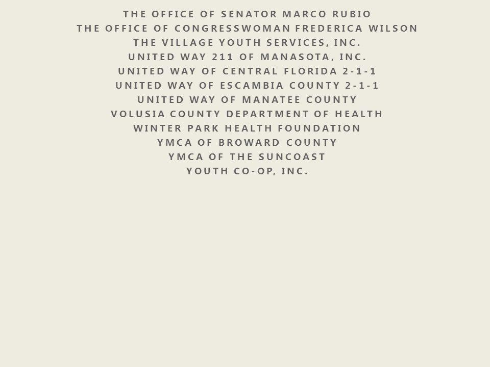 THE OFFICE OF SENATOR MARCO RUBIO