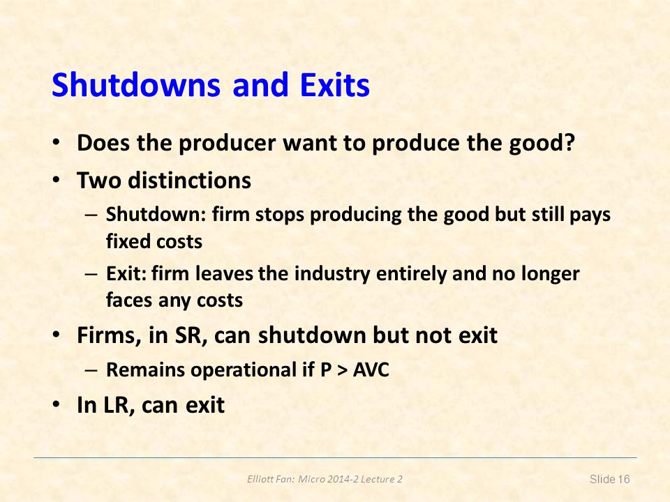 Shutdowns and Exits Does the producer want to produce the good
