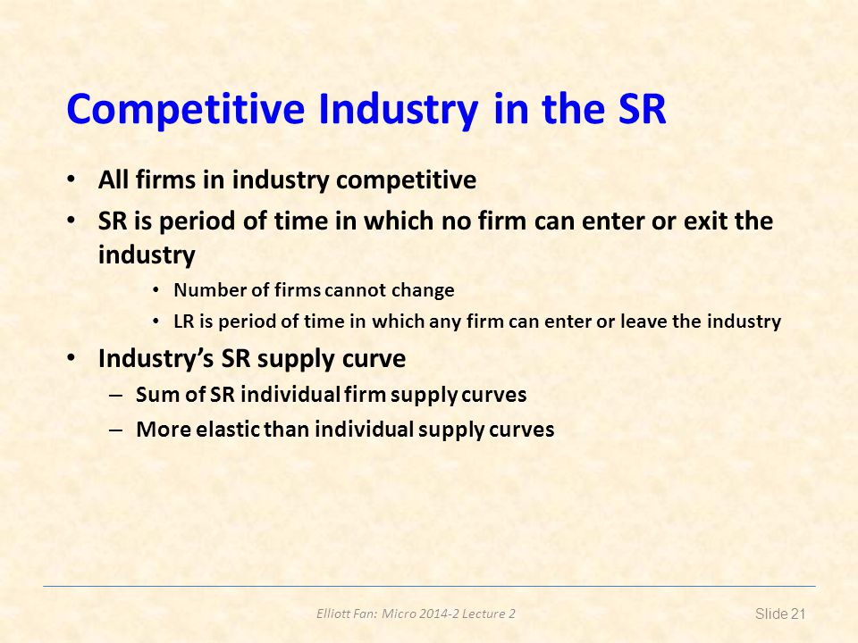 Competitive Industry in the SR