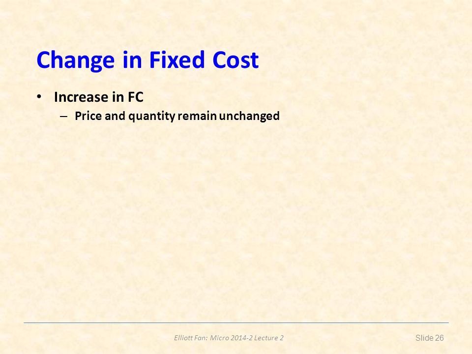Change in Fixed Cost Increase in FC